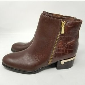 Isola Daylin Croc Embossed Leather Ankle Boots